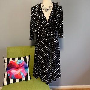 Chaps Polka Dot Ruffle Wrap Dress NWT C4